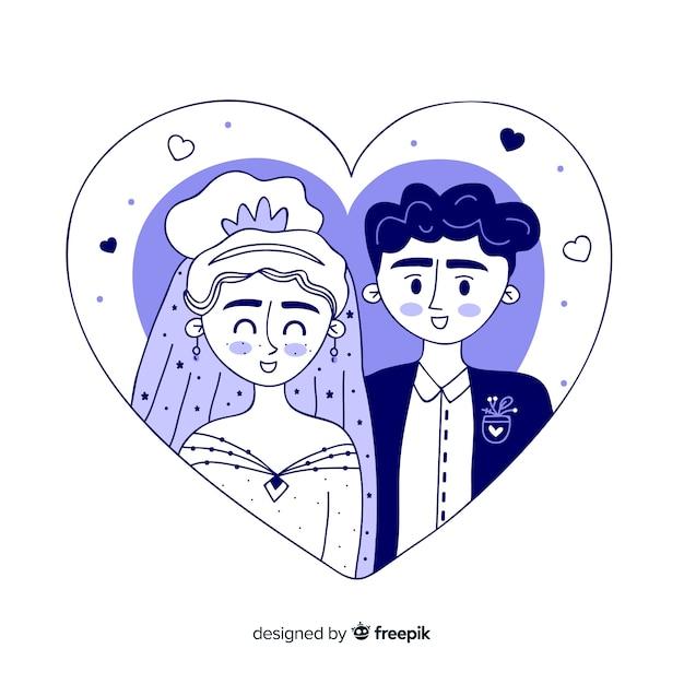 Fundo de casal de casamento de mão desenhada Vetor grátis