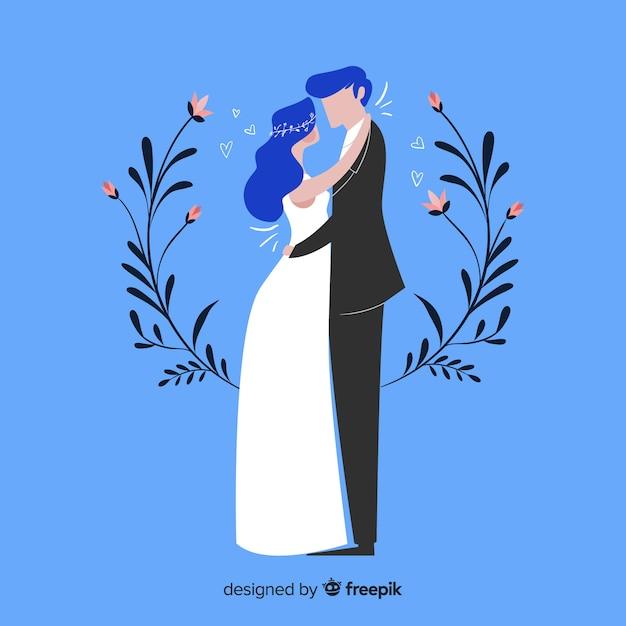 Fundo de casal de casamento design plano Vetor grátis