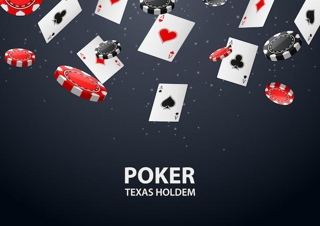 Fundo de cassino com cartão de pôquer e fichas. Vetor Premium