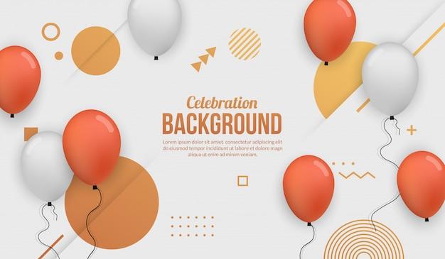 Fundo de celebração com balão realista para birhtday festa, formatura, evento e férias Vetor Premium