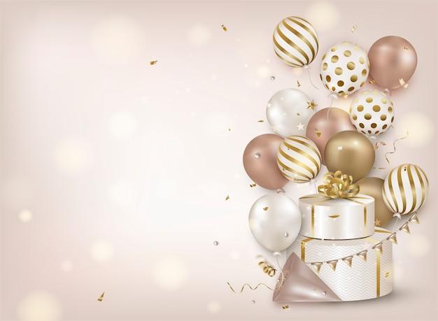 Fundo de celebração com balões de ar ouro, confetes caindo, caixa de presente, luzes em bege. Vetor Premium
