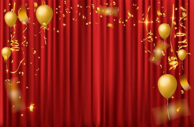 Fundo de celebração com confetes caindo de ouro Vetor Premium