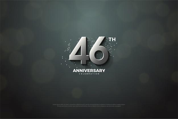 Fundo de celebração do 46º aniversário com números prateados Vetor Premium