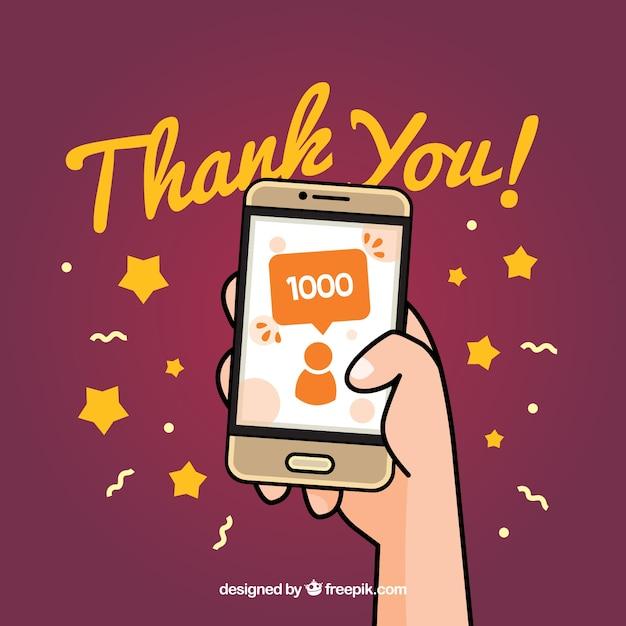 Fundo de celebração do seguidor 1k com o celular desenhado à mão Vetor grátis