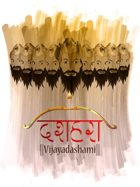 Fundo de celebração dussehra com ravan Vetor Premium