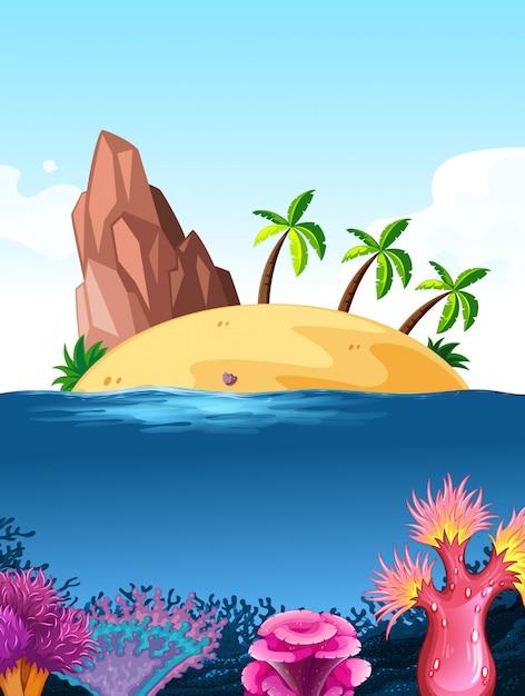 Fundo de cena de natureza com ilha no oceano Vetor grátis
