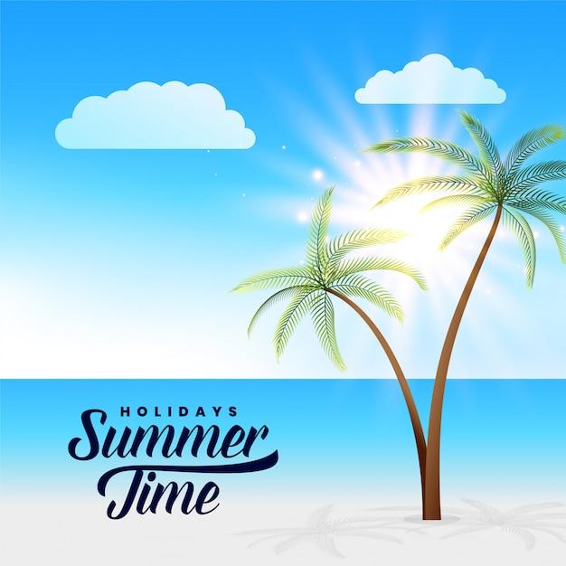 Fundo de cena linda praia paradisíaca de verão Vetor grátis
