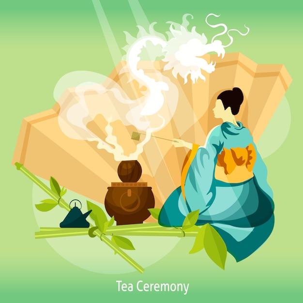 Fundo de cerimônia do chá Vetor grátis