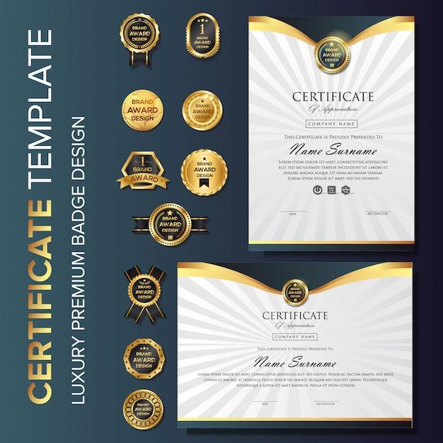 Fundo de certificado de ouro de luxo com distintivo Vetor Premium