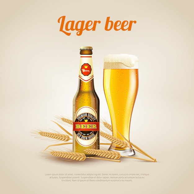 Fundo de cerveja lager Vetor Premium