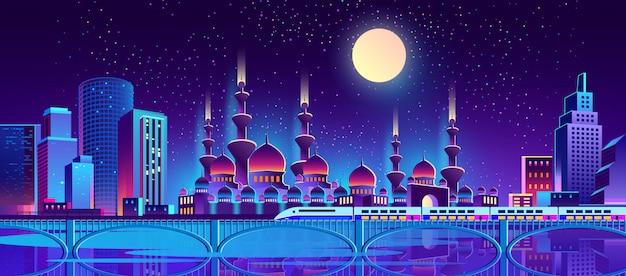 Fundo de cidade à noite com a mesquita muçulmana Vetor grátis