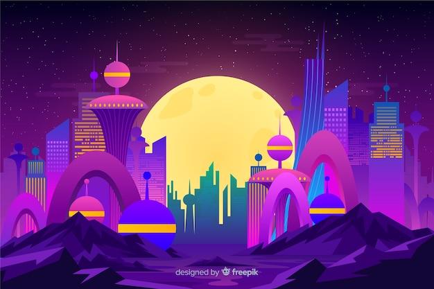 Fundo de cidade plana futurista noite Vetor grátis