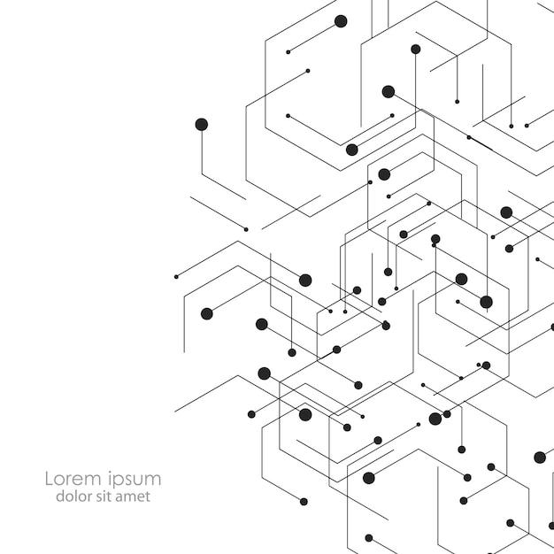 Fundo de ciência e tecnologia com pontos de conexão abstratos e linhas Vetor Premium
