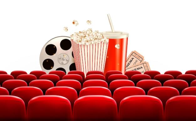 Fundo de cinema com rolo de filme, pipoca, bebida e ingressos. Vetor Premium