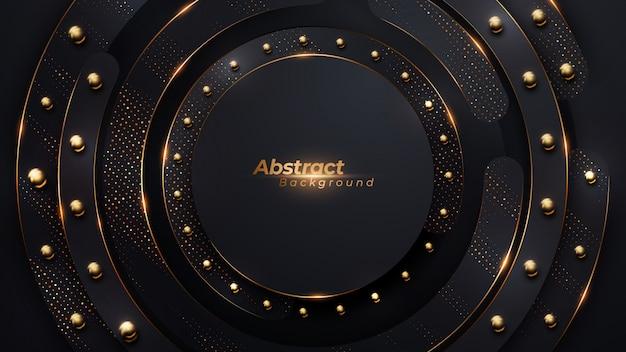 Fundo de círculo de luxo com meio-tom dourado e grânulos de bola de ouro. Vetor Premium