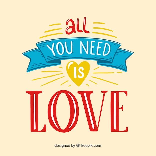 Fundo de citação de amor Vetor grátis