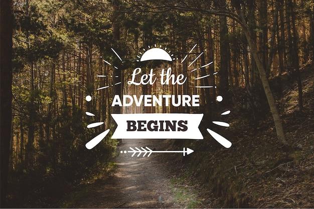 Fundo de citação de aventura positiva Vetor grátis