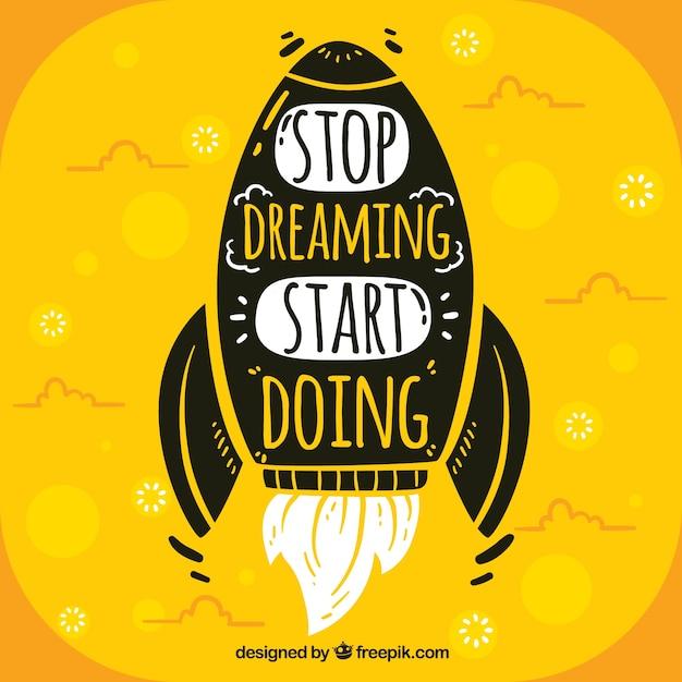 Fundo de citação de motivação na cor amarela Vetor grátis