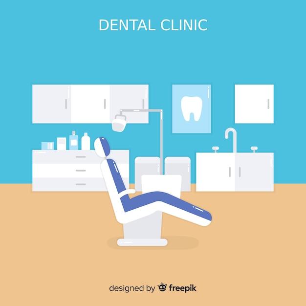 Fundo de clínica dentária plana Vetor grátis