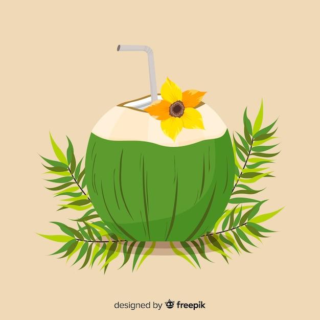 Fundo de cocktail de coco mão desenhada Vetor grátis