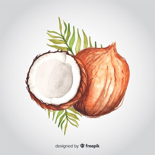 Fundo de coco aquarela mão desenhada Vetor grátis