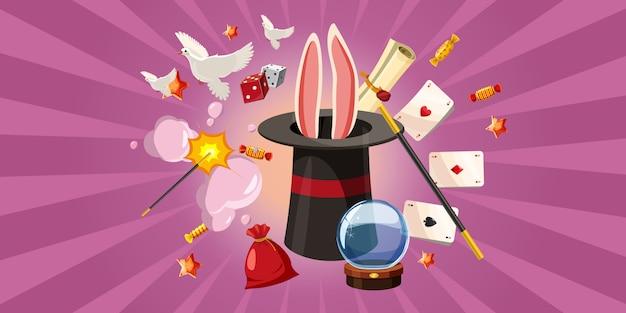 Fundo de coelho mágico horizontal, estilo cartoon Vetor Premium
