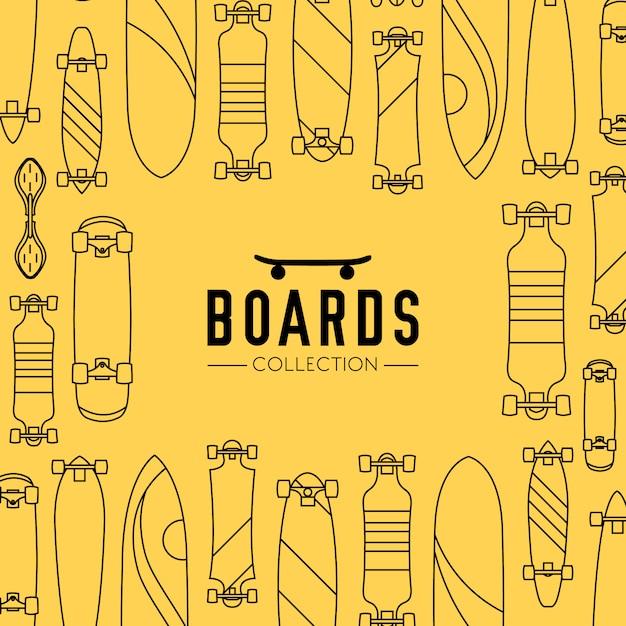 Fundo de coleção skate e skate com skates Vetor grátis
