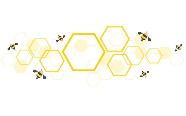 Fundo de colméia de abelhas Vetor Premium