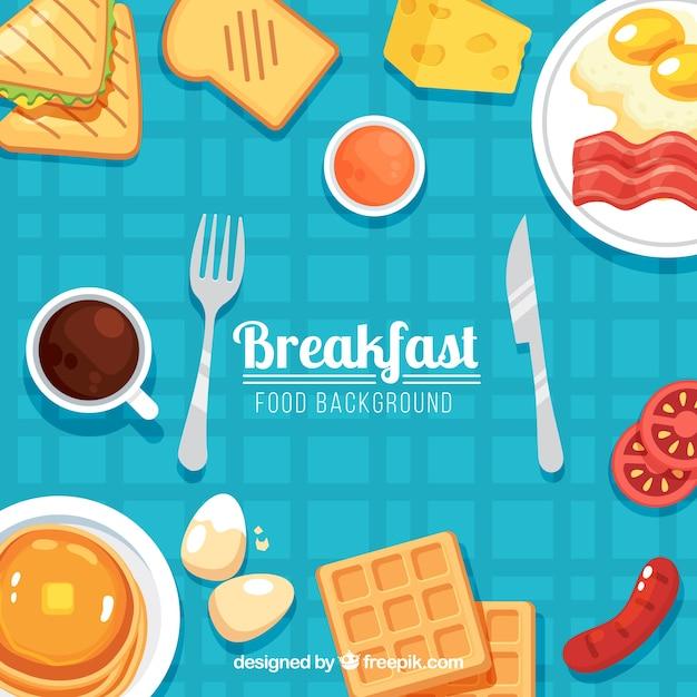 Fundo de comida com café da manhã Vetor grátis