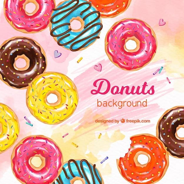 Fundo de comida com donuts Vetor grátis