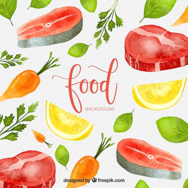 Fundo de comida com estilo aquarela Vetor grátis