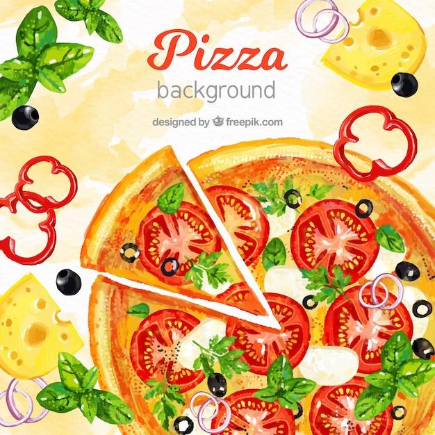 Fundo de comida com pizza Vetor grátis