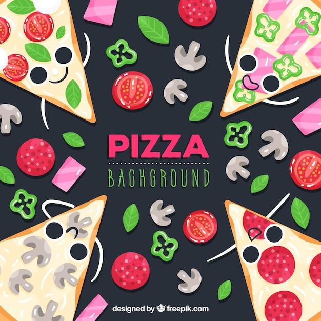 Fundo de comida com pizzas fofos Vetor grátis