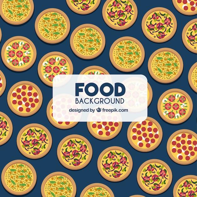 Fundo de comida com pizzas Vetor grátis