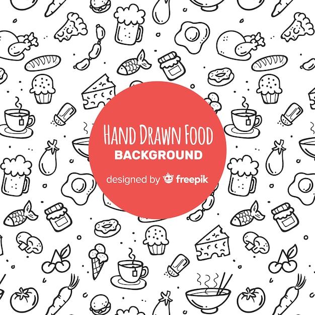 Fundo de comida de mão desenhada Vetor grátis