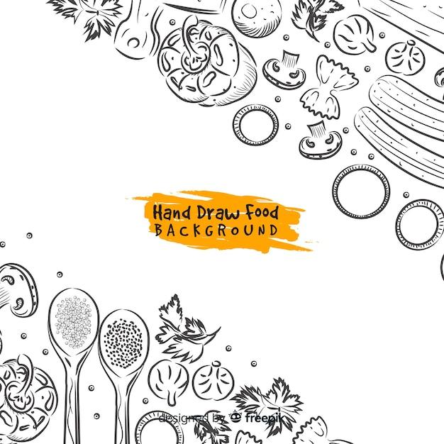 Fundo de comida de mão desenhada Vetor Premium