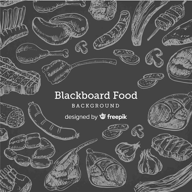Fundo de comida de quadro-negro Vetor Premium