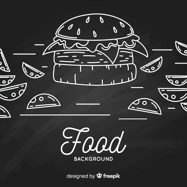 Fundo de comida de quadro-negro Vetor grátis