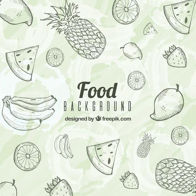 Fundo de comida deliciosa com estilo mão desenhada Vetor grátis
