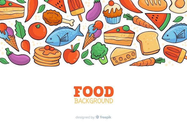 Fundo de comida deliciosa mão desenhada Vetor grátis