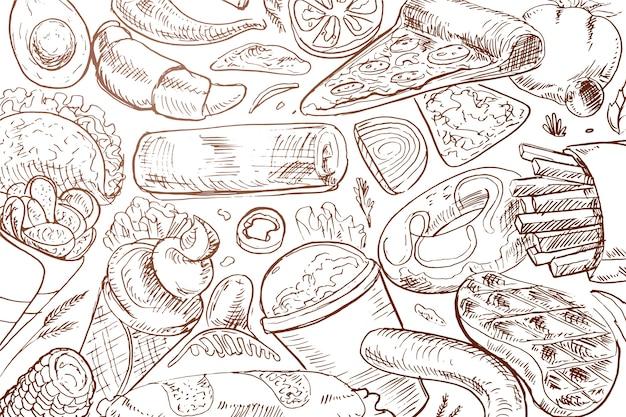 Fundo de comida desenhada de mão Vetor grátis