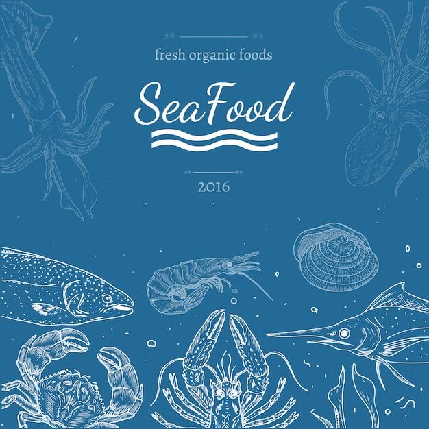 Fundo de comida do mar Vetor Premium