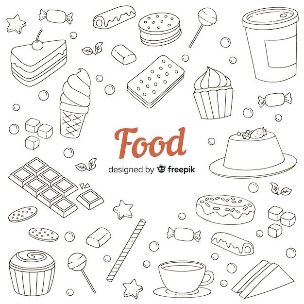 Fundo de comida doce doodle mão desenhada Vetor grátis