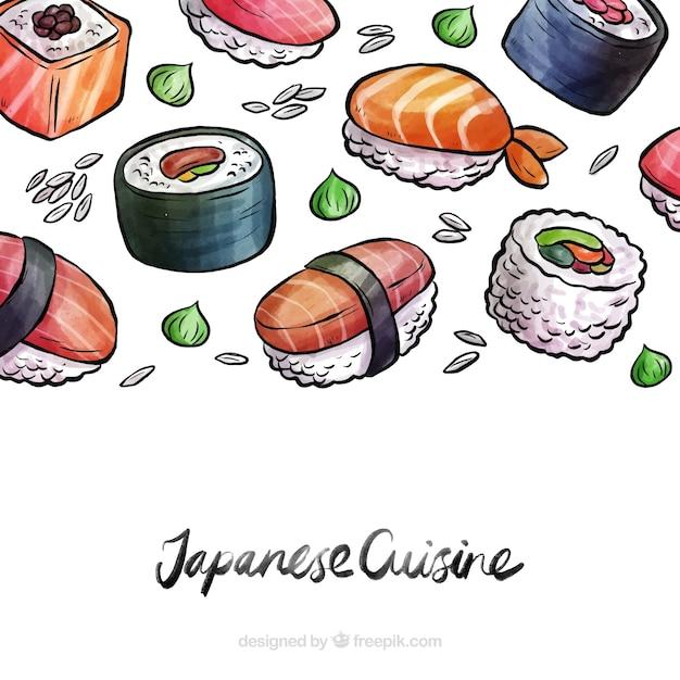 Fundo de comida japonesa em aquarela Vetor grátis