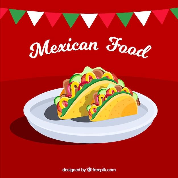 Fundo de comida mexicana com duas tacos Vetor grátis