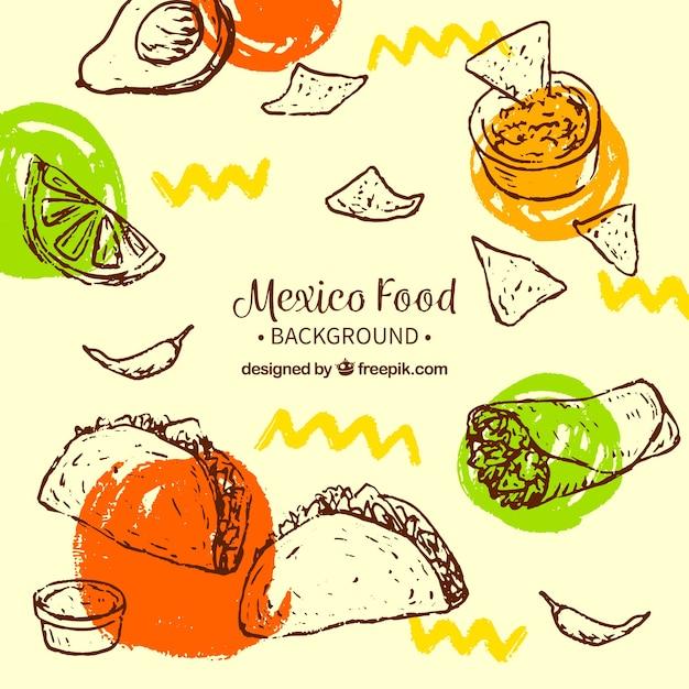 Fundo de comida mexicana criativa Vetor grátis