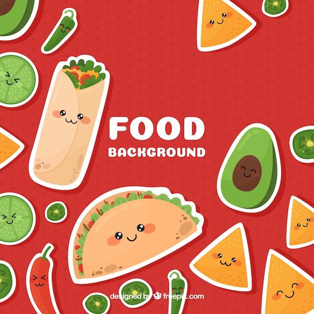 Fundo de comida mexicana Vetor grátis