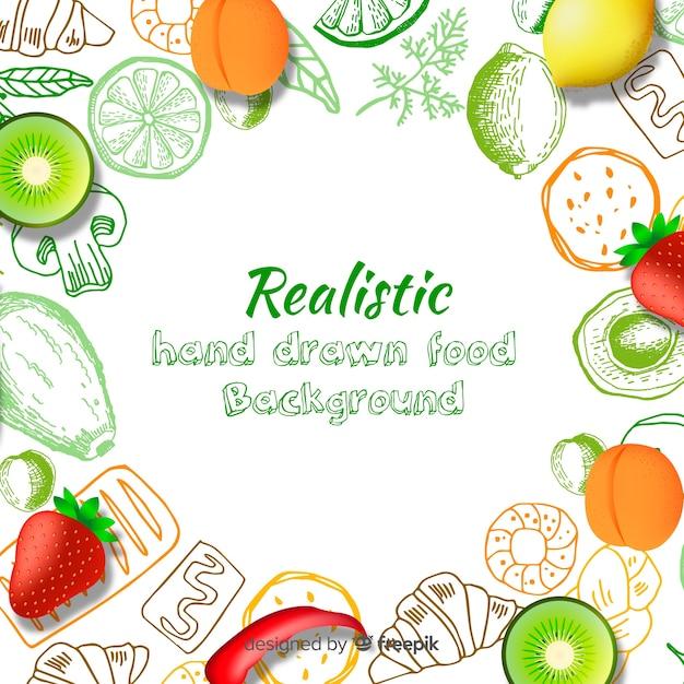 Fundo de comida realista Vetor grátis