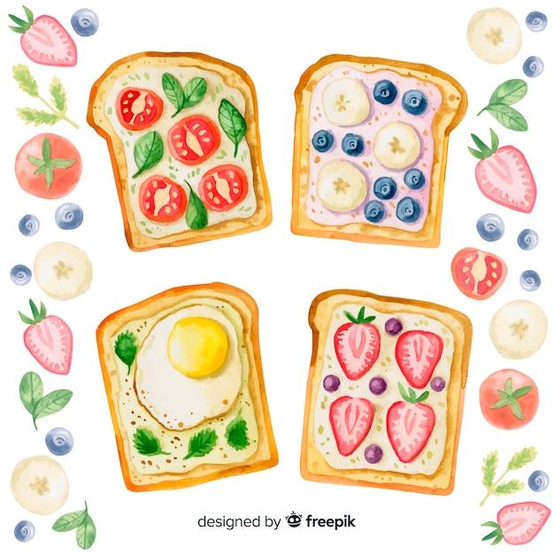 Fundo de comida saudável em aquarela Vetor grátis