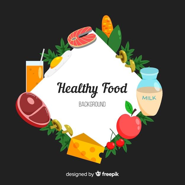 Fundo de comida saudável plana Vetor grátis